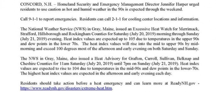 State of New Hampshire Department of Safety Press Release – Extreme Heat