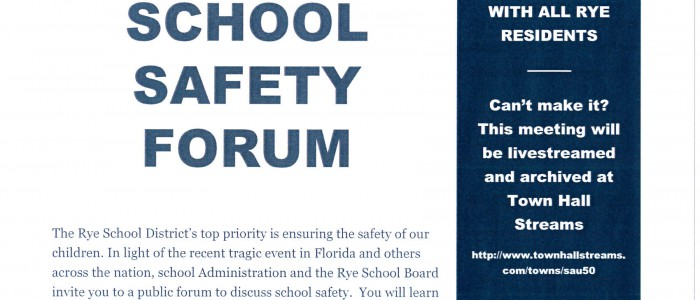 School Safety Forum Wednesday, May 2